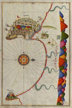 Istanbul Illuminated Manuscript, Map of the fortress of Alanya (ʿAlāʾiye, Alaiye) (Turkey) from Book on Navigation by Piri Reis Vintage Maps, Antique Maps, Ancient Maps, Map Globe, Old Maps, Illuminated Manuscript, Map Art, Islamic Art, Illustrations