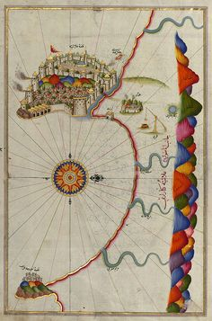 Piri Reis was a 16th century Ottoman Admiral famous for his maps and charts collected in his Kitab-ı Bahriye (Book of Navigation). Map of the Fortress of Alanya, Turkey
