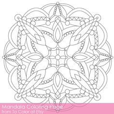 Simple Printable Coloring Pages for Adults, Gel Pens Mandala Pattern, PDF / JPG, Instant Download, Coloring Book, Coloring Sheet Grown Up by ToColor on Etsy