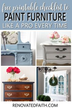 This checklist will show you the same process I use on every furniture piece I refinish and it's FREE! Whether you are refinishing a family antique or painting a roadside rescue, these simple tips will show you the fail-proof way to paint furniture that lasts! From putting paint brushes in your refrigerator to wearing your clothes inside out, these easy hacks that will make your next paint job your easiest one yet! Professional secrets for an amazingly smooth surface without brush strokes Glazing Furniture, Diy Furniture Projects, Repurposed Furniture, Furniture Makeover, Diy Projects, Furniture Refinishing, White Washed Furniture, Painted Bedroom Furniture, Chalk Paint Furniture
