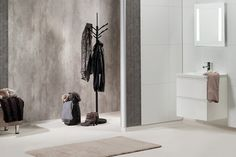 Fibo-Trespo våtromsplater - 2204 Cracked Cement S Og 2091 White S 2069 Zink Bathroom Paneling, Bathroom Hooks, Shower Panels, Bauhaus, Cement, Wardrobe Rack, Oversized Mirror, Studio, Furniture