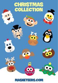 12 Printable Christmas Masks from Masketeers - Santa, Elf, Snowman, Scrooge, Roast Turkey, Penguin, Polar Bear, Robin, Christmas Pudding, Reindeer, Bauble and a Christmas Tree! Only $7