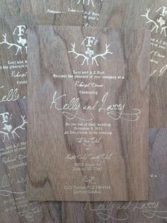 "Rustic Antler Monogram Gold Foil Wedding Invitation <a href=""http://CWS-Designs.com"" rel=""nofollow"" target=""_blank"">CWS-Designs.com</a>"