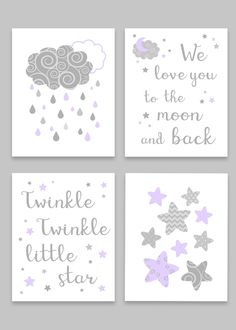 Gray and Purple Nursery Art Baby Girl Decor We Love You To The Moon And Back Twinkle Twinkle Little Star Set of 4 Prints Canvas Decor Gray and Purple Nursery Art Baby Girl Decor We Love You To The Moon And Back Twinkle Twinkle Little Star […] Star Nursery, Nursery Art, Girl Nursery, Moon Nursery, Nursery Prints, Nursery Quotes, Nursery Ideas, Baby Nursery Furniture, Purple Baby