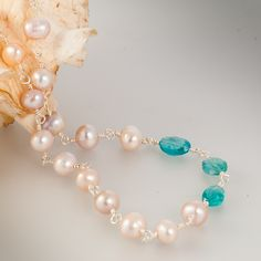 Pacific Star – Freshwater Pearls and Apatite Necklace, $85.00   samandchloe.com