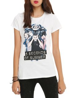 5 Seconds Of Summer Silly Photo Girls T-Shirt, WHITE