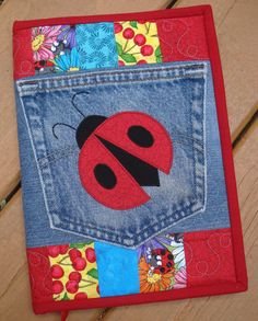 Red Ladybug Recycled Denim Quilted Jean Pocket Journal Cover