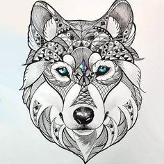 Beautiful Wolf Head Tattoo Design