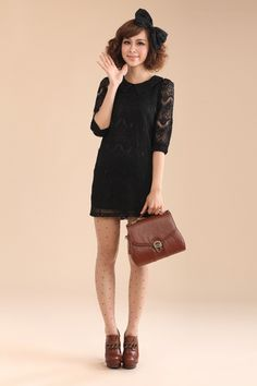 $32.35 Korean sleeve lapel lace dress