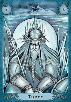 In Norse mythology, Þrymr was king of the jotnar. In one legend, he stole Mjollnir, Thor's hammer, to extort the gods into giving him Freyja as his wife.  Nataša Ilinčić watercolour. Artwork for Fate of the Norns.