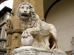 Medici lion by Flaminio Vacca (1538 -1605).Loggia dei Lanzi. Florence.Italy.Marble.