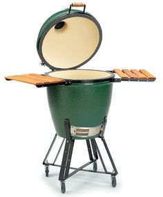 "Widely-applauded as the unique US-made ceramic cooker, the Big Green Egg grill was based on an old clay cooking gadget referred to as a ""kamado"". Green Egg Grill, Bbq Grill, Grilling, Big Green Egg Large, Hearth And Patio, Egg Smoker, Chef Dishes, Green Eggs, Charcoal Grill"