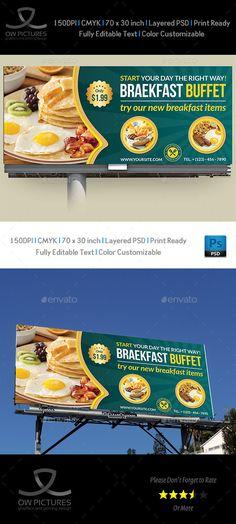 Billboard Description : Breakfast Restaurant Billboard Template was designed for business, it¡¯s professional and eye catching