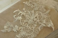 beaded Alencon lace applique in ivory  with silver by lacetime