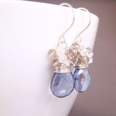 Gorgeous!  Blue Quartz Earrings, Moonstone and Smoky Quartz Clusters Handmade in Sterling Silver