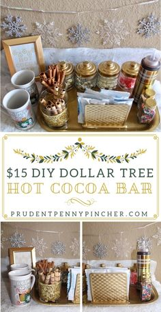 Keep your guests warm this winter with one of these creative and beautiful hot chocolate bar ideas. These ideas are perfect for a Christmas party. Choclate Bar, Hot Chocolate Party, Hot Chocolate Mix, Hot Chocolate Recipes, Chocolate Diy, Hot Chocolate Bar Wedding, Dollar Tree Birthday, Dollar Tree Christmas, Dollar Tree Crafts