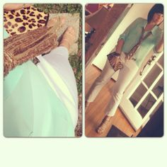 Mint green, white and leopard