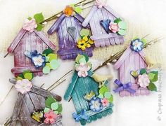 26 cute and easy craft ideas using ice cream stick Popsicle Stick Birdhouse, Popsicle Stick Art, Popsicle Stick Crafts, Craft Stick Crafts, Fun Crafts, Diy And Crafts, Crafts For Kids, Arts And Crafts, Plate Crafts