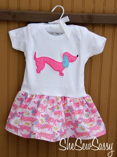 dachshund wiener dog onesie dress. $25.00, via Etsy.