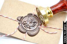 Heraldic Dragon Gold Plated Wax Seal Stamp x 1