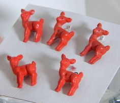 Vintage Figural Buttons Red Deer Adorable 40's 50's Mid Century Kitsch Fashion Sewing Buttons Bambi by OffbeatAvenue on Etsy