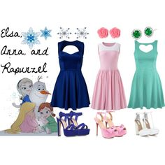 """""""Elsa, Anna, and Rapunzel"""" by imperfectionxoxo15 on Polyvore"""