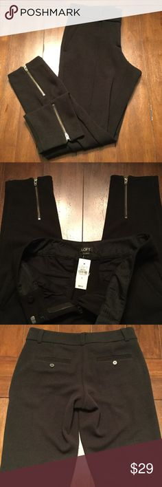 NWT Ann Taylor Loft Pants Black skinny pants with side zip from Ann Taylor Loft. New with tags. Thick textured fabric. Perfect for winter! LOFT Pants