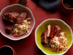 Get Ching He Huang's Spicy Soy Ribs with Sweet and Sour Slaw Recipe from Cooking Channel