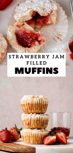 Fruit Recipes, Muffin Recipes, Delicious Recipes, Cookie Recipes, Dessert Recipes, Yummy Food, Desserts, Strawberry Muffins, Strawberry Jam