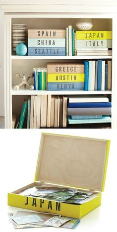 Create keepsake boxes to be used for display on bookcases or shelves as part of your Travel Themed Design Plan www.a-four-seasons-home.com  travel keepsake boxes.... Interesting idea