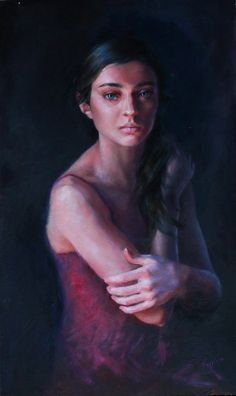"""Dauntless"" by Kristina Laurendi Havens, oil painting. Portrait on mixed media panel"