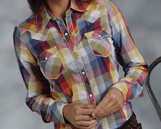 Great Looking Long And Lean Shirt In A Gorgeous Multi Color Buffalo Plaid * Contrasted Heavy Topstitching * Flap Pockets * Retro Style Yokes * Printed Contrast Facings * Garment Washed  100% COTTON