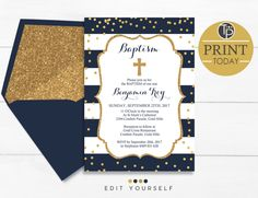 Boy Baptism Invitations, Instant Download, Navy and Gold Baptism Invitation, Navy and Gold Christening invitation, Gold Confetti Baptism