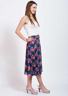 midi floral skirt blue