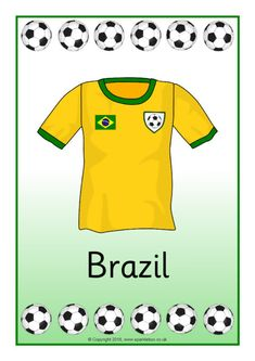 A set of posters featuring pictures of the Football World Cup 2014 team shirts.