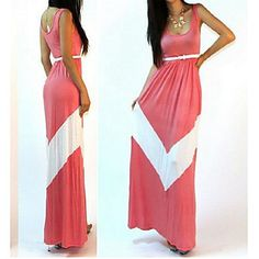 Womens Pink and White Maxi Dress Stretchy and Sleeveless