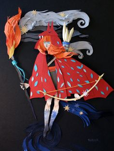 llustrator Morgana Wallace creates mixed media compositions that reference various aspects of mythology and realms of fantasy. The artworks are made from layers of cut paper with additional details added in watercolor and gauche. You can see much more on her website.