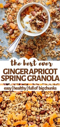 Make today this spring granola. It's healthy, easy to bake and will give you big chunks of homemade deliciousness. Get the recipe for homemade ginger apricot granola at Milk and Pop. Brunch Recipes, Sweet Recipes, Breakfast Recipes, Snack Recipes, Cooking Recipes, Breakfast Ideas, Vegetarian Recipes, Healthy Recipes, Healthy Food