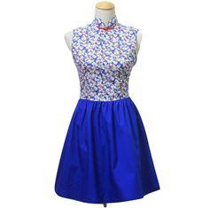 Blue Floral Qipao Blue Modern Qipao Blue Qipao Dress by MOJONET