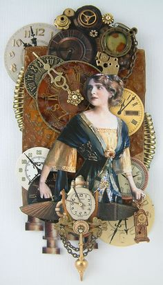 original pinner says: steampunk altered art. I want to do a large canvas steampunk mixed media with a vintage decoupaged image, perhaps something with Amelia Earhart ! Mixed Media Collage, Collage Art, Steampunk Kunst, Pub Vintage, Assemblage Art, Artist Trading Cards, Graphic 45, Illustrations, Tag Art