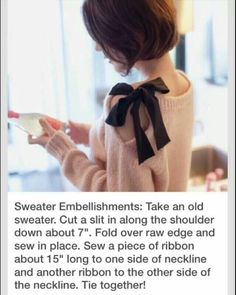 Gonna do this to al my grandma's old sweaters and give them a fashionable second life!