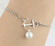 Silver Small Anchor Bracelet Little Anchor Necklace Pearl Silver Chain Woman's Daily Jewelry Bridesmaid Bracelet Or Necklace Wedding Jewelry Gift Birthday Friendship Graduation Gift,Daily Jewelry,Christmas Gift,Wholesale Or Retail By DelicateGift on Luulla