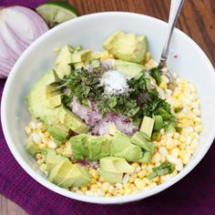 Raw corn and avocado salad is a cool and creamy side dish, perfect for summer cook outs.