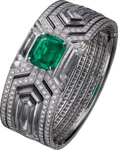 Bracelet – white gold, one 9.76-carat emerald-cut Colombian emerald, rock crystal, black lacquer, brilliant-cut diamonds