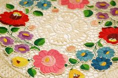 https://flic.kr/p/83YqyR | Hungarian embroidery vintage doily | This amazing Hungarian embroidered doily originally bought as a souvenir in the sixties I think.  The colors are still vibrant, the stitches are so even and the openwork is sooo intricate.