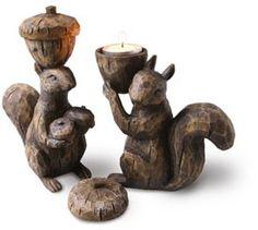 Squirrel Tea Light Holders #squirrels #decor