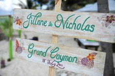 Painted signs for beach wedding
