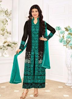 Buy online bollywood celebrity Ayesha Takia black and sea green bollywood salwar kameez. Trendy bollywood salwar kameez is made with exclusive embroidered and lace. Shop online beautiful bollywood salwar kameez now. Salwar Dress, Churidar Suits, Salwar Kameez, Anarkali Suits, Punjabi Suits, Designer Suits Online, Designer Salwar Suits, Designer Dresses, Eid Outfits