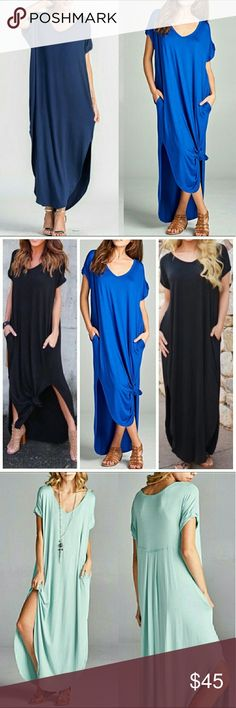 Navy Boho Oversize Pocket Maxi Stretchy Dress Navy Boho Oversize Pocket Maxi Stretchy Dress with Pockets. Can fit up to a size 16. Consider sizing down if you don't prefer an oversized loose fit.  So soft and oh so comfy!  96% rayon / 4% spandex  Note: Truest to color would be the first picture on left side.  ALSO AVAILABLE IN MINT! Dresses Maxi