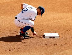 Rougned Odor draws a cross in the dirt behind second base before ALDS Game 1 with the Blue Jays at Globe Life Park on Thursday, October 6, 2016. (Tom Fox/The Dallas Morning News)